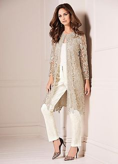Add this chic longline lace jacket to your occasionwear wardrobe this season! Floral lace lends a timeless and feminine appeal to any outfit; this design w Wedding Trouser Suits, Mother Of The Bride Trouser Suits, Mother Of Bride Outfits, Mother Of Groom Dresses, Mothers Dresses, Bride Groom Dress, Bride Dresses, Mode Abaya, Evening Dresses