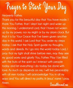 Prayer to Start Your Day | Socialhermit.me