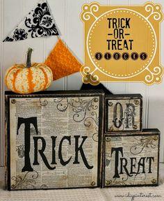 trick or treat blocks Retro Halloween, Spooky Halloween, Décoration Table Halloween, Halloween Blocks, Homemade Halloween Decorations, Halloween Signs, Holidays Halloween, Halloween Treats, Happy Halloween