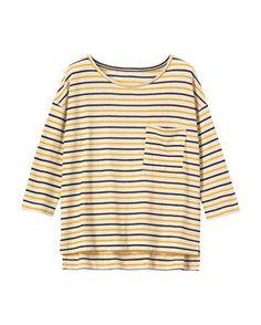 Stripe Cotton/Linen Long Sleeve Tee