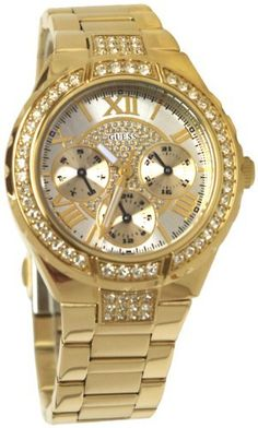GUESS U0111L2 Gold-Tone Sparkling Watch GUESS. $100.94. Gold-tone dial with crystal embellishment. water resistant. Multifunction: day, date, and international time. Women's jewelry. watch. Save 22%!