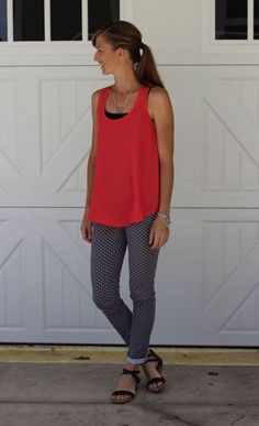 what i wore - bright coral tank with dotted grey skinnies