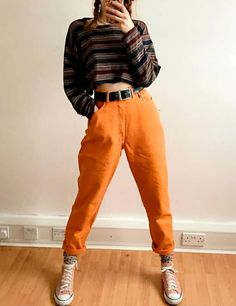 orange relaxed jeans