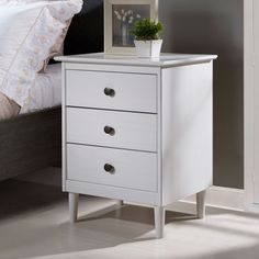 Walker Edison Furniture Co. White Three Drawer Nightstand in Dark Walnut/Gold Brown, Contemporary & Modern White Nightstand, 3 Drawer Nightstand, Nightstand Ideas, High Quality Furniture, My New Room, Vintage Walls, Furniture Decor, Ikea Bedroom Furniture, Space Furniture