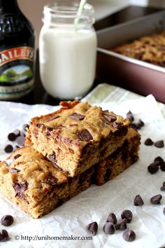 Baileys Chocolate Chunk Cookie Bars