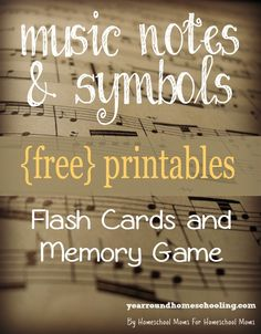 These {free} Flash Cards and Memory Game printables are a FUN way to help them learn and memorize music symbols, note names and key signatures!!