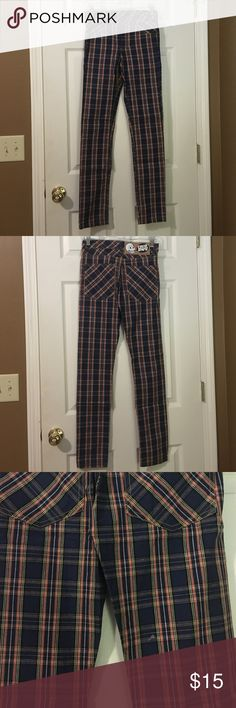 Cheap Monday plaid denim skinny jeans Blue, orange, yellow, and black plaid skinny jeans. Pictures defects. Never worn. Cheap Monday Jeans Skinny