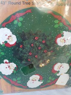 """Bucilla """"JOLLY SANTA FACES"""" Felt Christmas Tree Skirt or Table Cover KIT, SEALED #Bucilla"""