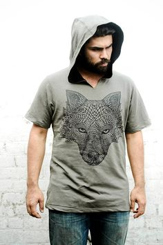 Mens Olive green hoodie with Original hand drawn Wolf by Shovava, $58.00