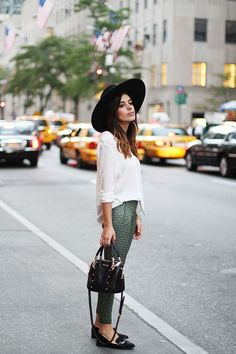 Printed pants & wide-brimmed hat.