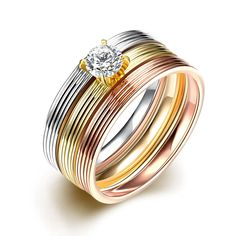 Jenia Three Gold Color Stripes Ring for Women Fashion Jewelry Cubic Zirconia Men's Steel Finger Rings CGR029 #Affiliate