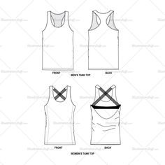 Tank Tops Men & Women Fashion Flat Template $ 3.99  #tanktop #activewear #sleeveless #flatfashion #technicaldesign #fashiondesign #details #vector #illustrator #fashiontemplate #fashionflats #illustratorstuff #cad #fashiondesigner #techpack #forsale