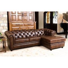 For Abbyson Living Tuscan Tufted Top Grain Leather Chaise Sectional