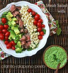 Steak Salad with Cilantro-Jalapeno Pesto - the tastiest way to use up leftover steak that you will EVER find!