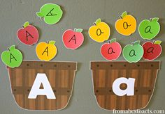 Sorting Letter A Apples into Big A Little a Baskets FREE printable