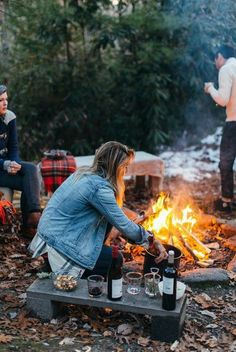 picnic, outdoor recreation, fire, campfire around the campfire