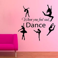 Shop for When You Feel Sad Dance Quotes Vinyl Sticker Ballet Studio Home Art Wall Decor Nursery Sticker Decal size Color Black. Get free delivery at Overstock - Your Online Art Gallery Shop! Get in rewards with Club O! Ballet Quotes, Dance Quotes, Apj Quotes, Ballet Pictures, Dance Pictures, Ballet Studio, Dance Studio, Vinyl Wall Art, Wall Decals