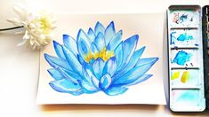Watercolor Lotus Flower Painting Tutorial - How to Draw Botanical Illustration DIY watercolor blue lotus for wall decorating. Watercolor Lotus, Lotus Painting, Watercolor Paper, Watercolor Flowers, Watercolor Paintings, Canvas Paintings, Botanical Illustration, Watercolor Illustration, Watercolour Tutorials