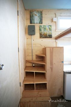 Bathroom Under Stairs Dimensions Best Of Tiny House Stairs Spiral Storage Style Tiny House Stairs, Tiny House Loft, Tiny House Storage, Loft Stairs, Tiny House Plans, Tiny House Design, Tiny House On Wheels, Tiny Houses, House Staircase