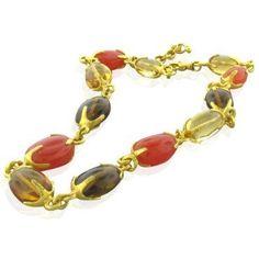 New Gurhan 24K Gold Multi Gemstone Necklace