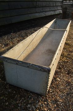 Large 8' long reclaimed galvanished water trough for sale on SalvoWEB from Courtyard at Debden Barns in Essex [Salvo code #salvage #garden