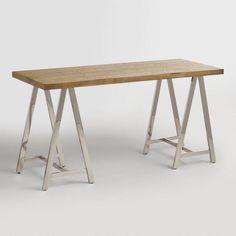 Natural Wood and Chrome Colton Mix & Match Desk - v1