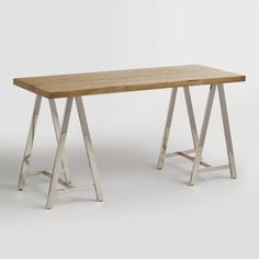 Natural Wood and Chrome Colton Mix & Match Desk - v1