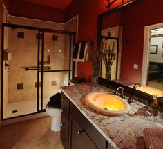 Cool Orange Bathroom Design Ideas | DigsDigs; wow, wonder how they did that sink?