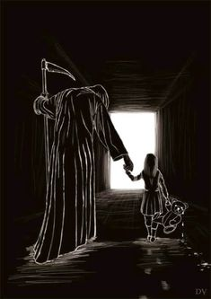 """""""The road to heaven"""" Scary Drawings, Dark Art Drawings, Art Drawings Sketches, Reaper Drawing, Image Triste, Grim Reaper Art, Dark Souls Art, Dark Art Illustrations, Arte Obscura"""