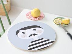 "Nämä Wooden Board ""Pekka"" designed by Ruth Landesa Mustache Styles, Kitchenware, Tableware, Handmade Wooden, Hostess Gifts, Kitchen Accessories, Kitchen Dining, Decorative Plates, Pottery"