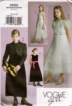 Vogue 7895 Teen Girls Flower Girl Bridesmaids or Evening Dress & Jacket Sewing pattern Size 12 14 16 UNCUT Factory Folded
