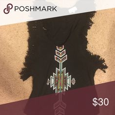 Cute tribal shirt with low sides Really cute black razorback tank with low sides on the sides- wear bandeau underneath. 213 industry  Tops Muscle Tees