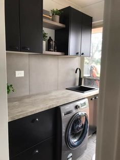 I want this fabulous barrel sink Laundry Cupboard, Laundry Nook, Laundry Room Layouts, Laundry In Bathroom, Bunnings Laundry, Bunnings Bathroom, Dresser Furniture, Geek Furniture, Pallet Furniture