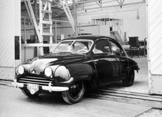 Saab 93 in black and white photo