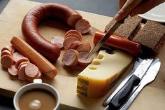 A traditional German breakfast – wursts, local cheeses and freshly baked bread is the normal fare for a German breakfast. All washed back with a delicious coffee.