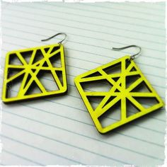 Laser Cut Neon Yellow Wood Earrings Style 10 by threeinarowgiftco, $10.00