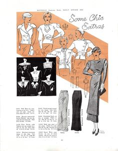 Butterick Fashion Book, Early Spring 1934 featuring Butterick 5484, 5438, 5374 and 5442, then 5391 (Collars, Cuffs and Gilet), 5000, 5394 and 5403 (Tunic)
