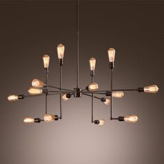 Sixteen Light Sputnik Chandelier in Bronze Finish - Beautifulhalo.com