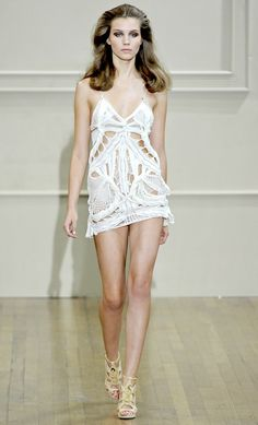 ~FASHIONISING.COM~ Julien MacDonald SS11.... A Summer's Sexy White Mini-Hemmed Crochet Dress!!   **SOO HOTT**