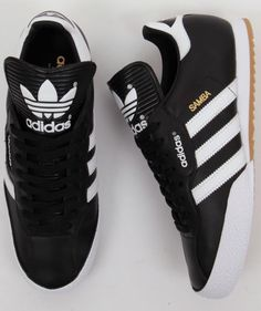 about adidas Originals Mens Samba Super Trainers Black Adidas Originals Mens Samba Super Trainers in Black White Leather Cheap Adidas Shoes, Adidas Shoes Women, Sneakers Adidas, Addidas Shoes Mens, Shoes Sneakers, Tenis Casual, Casual Shoes, Basket Tennis, Soccer Cleats