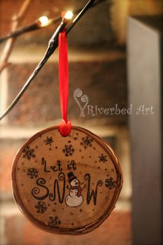 Let it Snow Pyrography Snowman Ornament by RiverbedART on Etsy