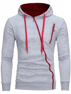 18d1be0bffd Color Block Oblique Zippers Fleece Hoodie Use Get OFF Discount!