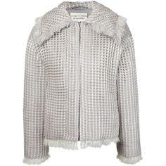 Iris Van Herpen 3D Woven Jacket ($651) ❤ liked on Polyvore featuring outerwear, jackets, long sleeve jacket, light grey jacket, zip front jacket, wool blend jacket and oversized collar jacket