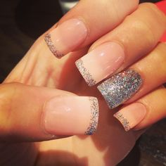 Acrylic glitter French light pink nails