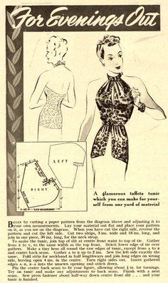 Vintage Chic: 1939 Evening Tunic Pattern.