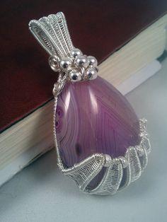 Wire Wrapped Pendant Purple Stripe Agate Pear by EmmaWyattArt, £30.00