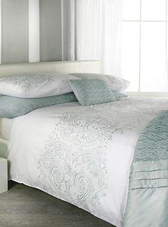 Duck egg Jeff Banks Hanbury Bed Set - patterned - bedding sets - Bed Linen - Home, Lighting & Furniture