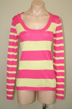 Nordstrom PURE AMICI Pink Yellow Striped Knit Linen Pullover Sweater Top  sz S #PureAmici #KnitTop #Casual