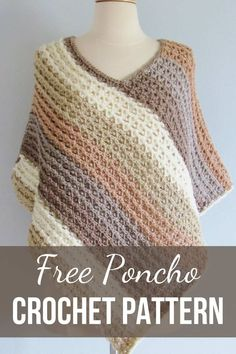 Pattern for Crochet Poncho-Textured- Crochet Dreamz This free crochet poncho pattern for women comes in sizes small to plus sizes. Made from simple rectangle shapes, this poncho tutorial is quick and easy enough for beginners. Crochet Tunic, Freeform Crochet, Knitted Poncho, Crochet Motif, Crochet Clothes, Crochet Stitches, Crochet Edgings, Knitted Shawls, Crochet Dresses