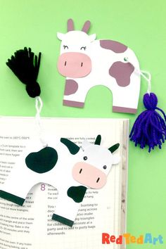 Red Ted Art's Tassel Tail Cow Bookmark - learn how to make a tassel and make this adorable Cow Bookmark from scratch. So cute!